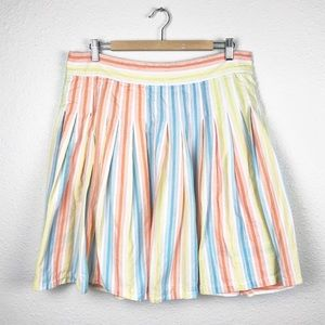 Odille Multicolor Pastel Striped Pleated Skirt